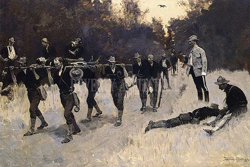 In The Rear Of The Battle Wounded On The San Juan Road by Frederic Remington