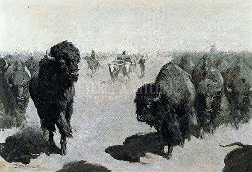 Lane Through The Buffalo Herd by Frederic Remington