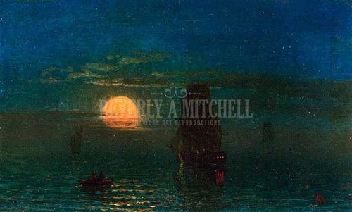 Ships In Moonlight by Albert Bierstadt
