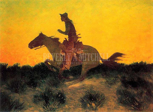 Against The Sunset by Frederic Remington