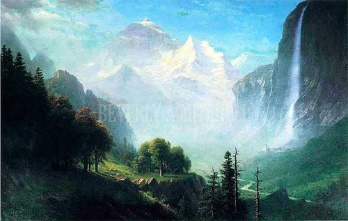 Staubbach Falls Near Lauterbrunnen Switzerland by Albert Bierstadt