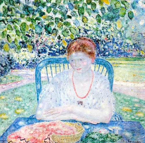 Sewing In The Garden by Frederick Carl Frieseke