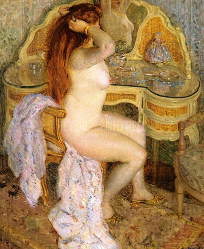 Nude Seated At Her Dressing Table by Frederick Carl Frieseke