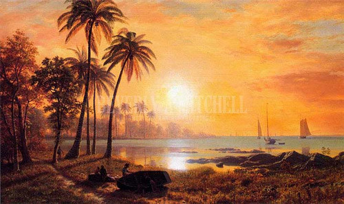 Tropical Landscape With Fishing Boats In Bay by Albert Bierstadt