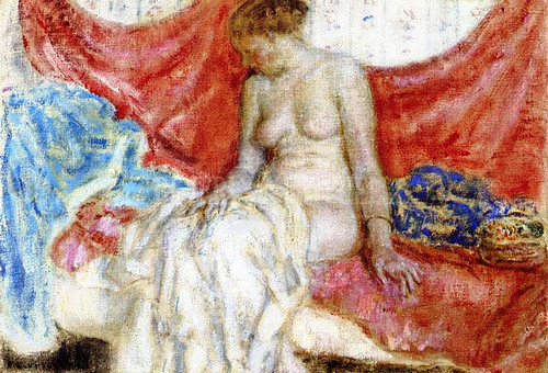 Nude Against Red Drapes (Study For Nude Seated) by Frederick Carl Frieseke