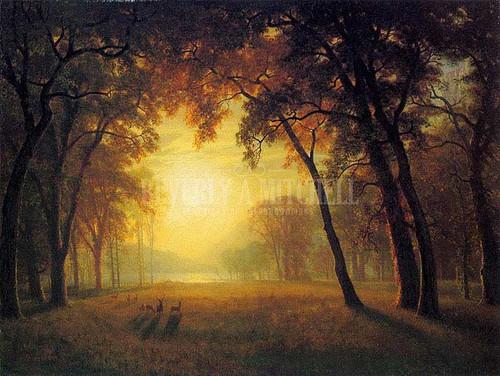 Deer In A Clearing by Albert Bierstadt