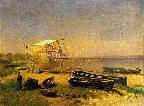 Fishing Station Watch Hill by Albert Bierstadt