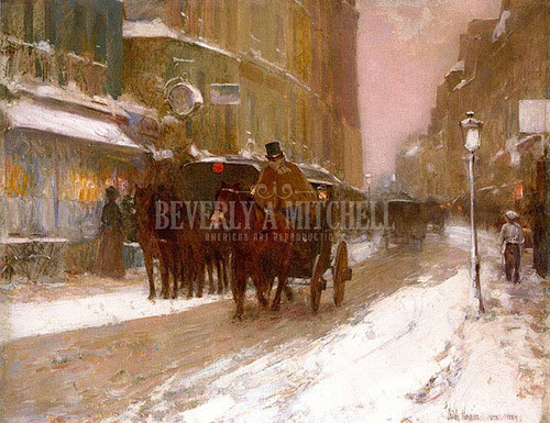 Winter Nightfall In The City by Frederick Childe Hassam