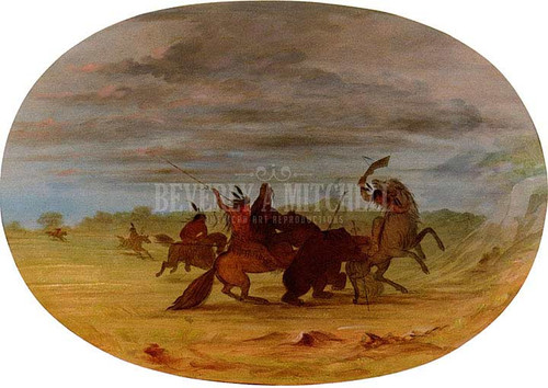 Indians Hunting The Grizzly Bear by George Catlin