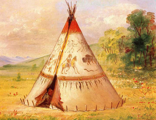 A Crow Wigwam Made Of Buffalo Skins In The Rocky Mountains by George Catlin
