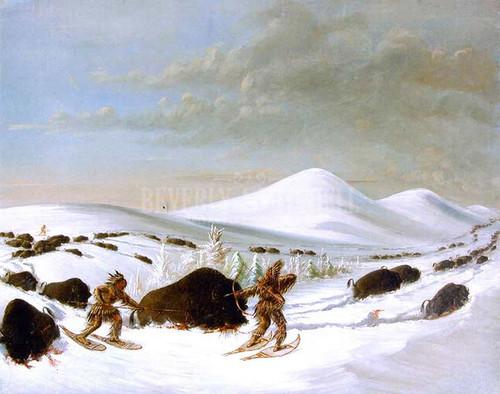 Buffalo Hunt In Winter by George Catlin