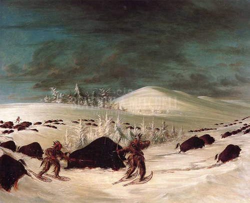 Buffalo Hunt On Snowshoes by George Catlin