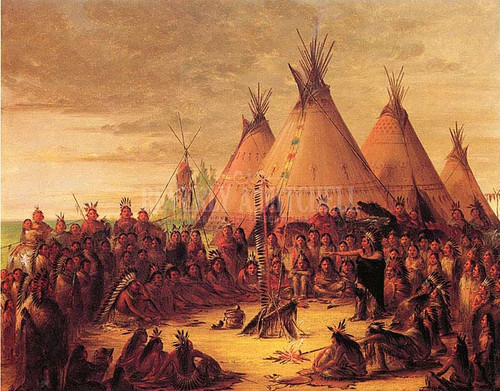 Indian Council (Sioux) by George Catlin