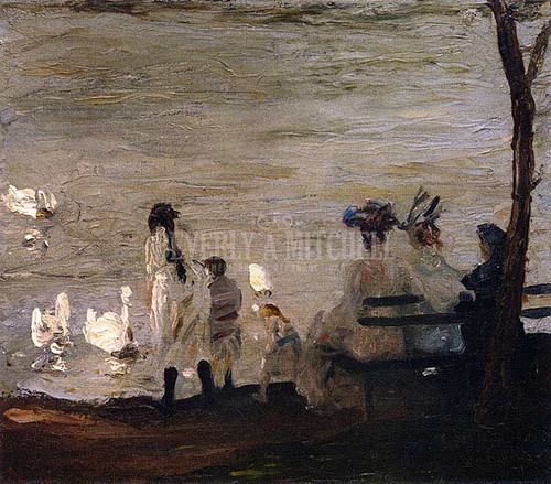 Swans In Central Park by George Wesley Bellows