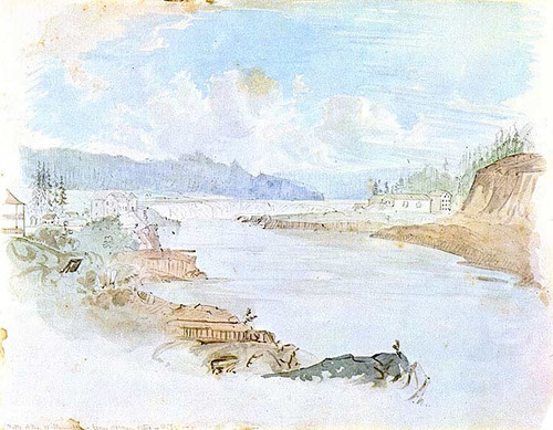 Falls Of The Willamette From Oregon City Oregon Territory by James Madison Alden