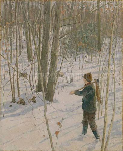 The Rabbit Hunter by Julian Alden Weir
