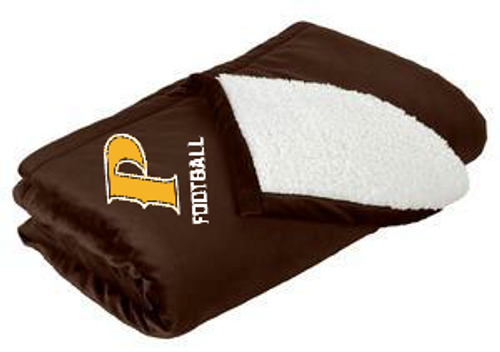 "Mountain Lodge Sherpa Blanket - ""P FOOTBALL"" (colors: Brown, Gray)"