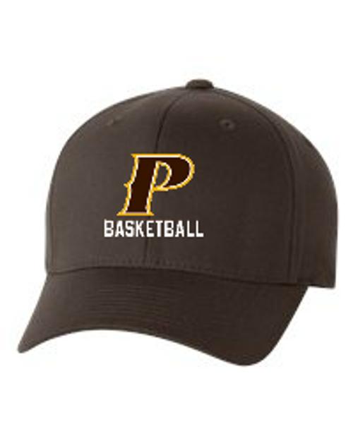 "Adult Flex-Fit Baseball Cap - ""P Basketball"" (colors: Brown, White, Dark Grey)"