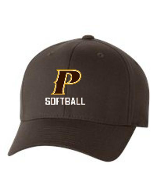 "Adult Flex-Fit Baseball Cap - ""P Softball"" (colors: Brown, White, Dark Grey)"