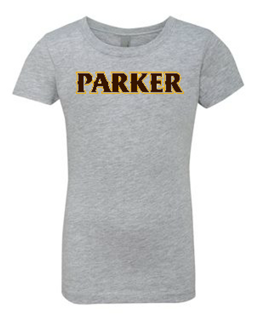 "Girls Princess Tee - ""PARKER"" (colors: grey, teal, white)"