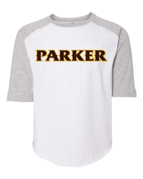 """Youth Baseball Jersey Tee - """"PARKER"""" [colors: gray, white]"""