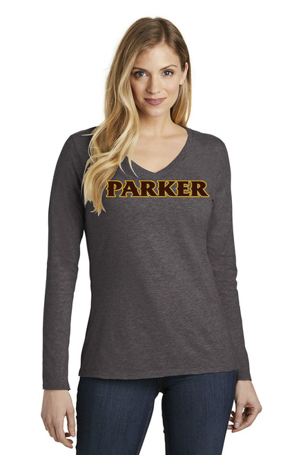 "Ladies Long Sleeve V-Neck Tee - ""PARKER"" [colors: white, gray, charcoal]"