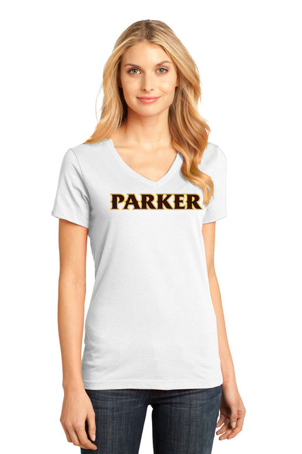 "Ladies V-Neck Tee - ""PARKER"" [colors: brown, carbon, gray, teal. white]"