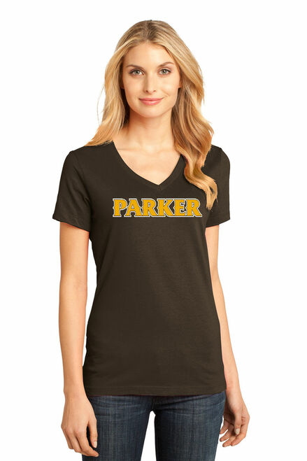 """Ladies V-Neck Tee - """"PARKER"""" [colors: brown, carbon, gray, teal. white]"""