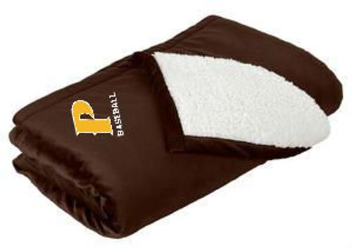 "Mountain Lodge Sherpa Blanket - ""P-BASEBALL"" (colors: Brown, Gray)"