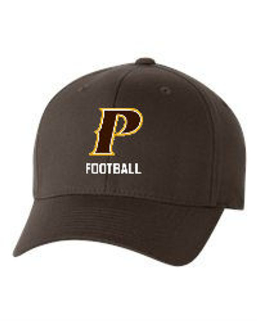 "Adult Flex-Fit Baseball Cap - ""P FOOTBALL""  [colors: Brown, White, Grey]"