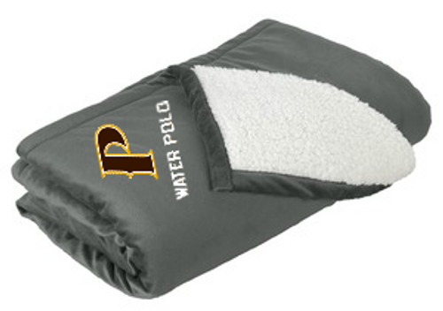 "Mountain Lodge Sherpa Blanket - ""P-WATER POLO"" (colors: Brown, Gray)"
