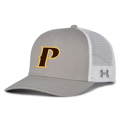 "Adult Trucker Mesh Cap - ""P"", ""SHIELD"" [colors: gray, gold, white, graphite]"
