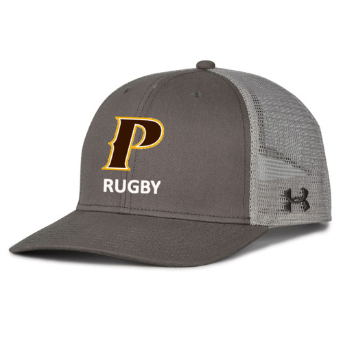 "Adult Trucker Mesh Cap - ""P-RUGBY"" [colors: gray, white]"
