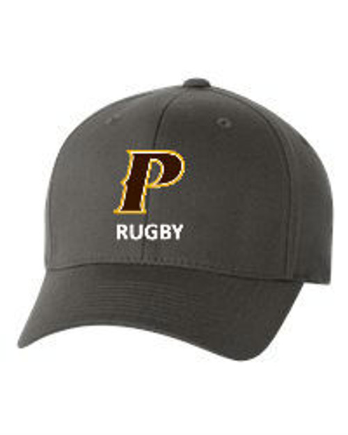 "Adult Flex-Fit Baseball Cap - ""P-RUGBY"" [colors: brown, gray]"