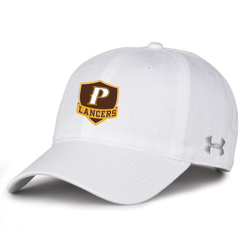 "Adult Garment Washed Twill Cap - ""P"" or ""SHIELD"" [colors: gray, white]"