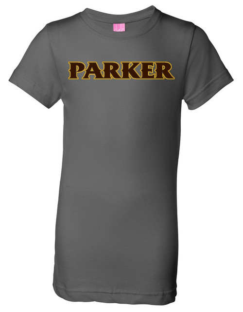 """Girls Cotton Tee - """"PARKER"""" [colors: charcoal, heather, white]"""