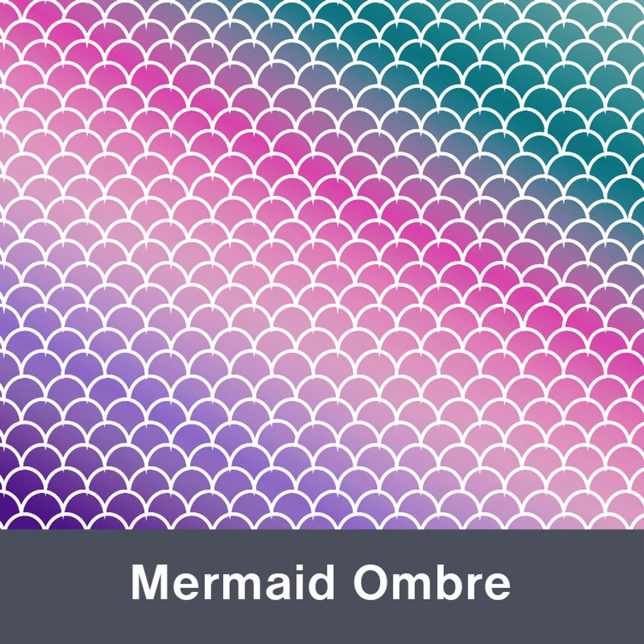 "Mermaid Ombre MATTE Permanent  Vinyl 12""x  12"""