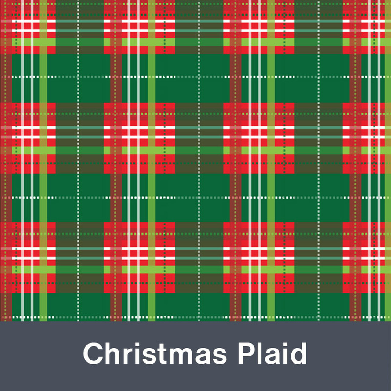 "Christmas Plaid MATTE Permanent  Vinyl 12""x  12"""