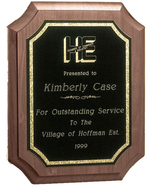 Victory Walnut Scalloped Award Plaque - Multiple Size Options