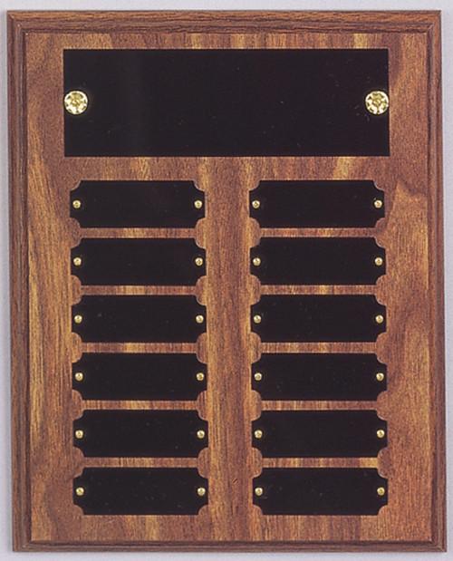 "8"" x 10"" (12 Plate) Walnut Finish Perpetual Plaque"