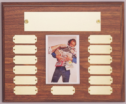 "10.5"" x 13"" (13 Plate) Walnut Finish Perpetual Plaque with Picture Holder"