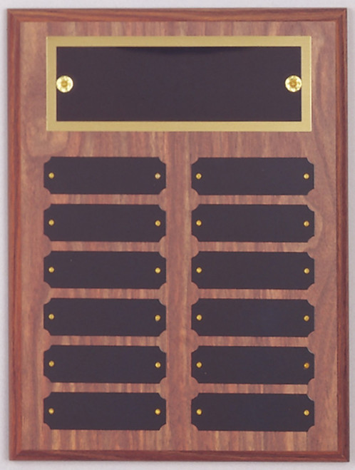 "9"" x 12"" (12 Plate) Walnut Finish Perpetual Plaque with Top Plate Border"