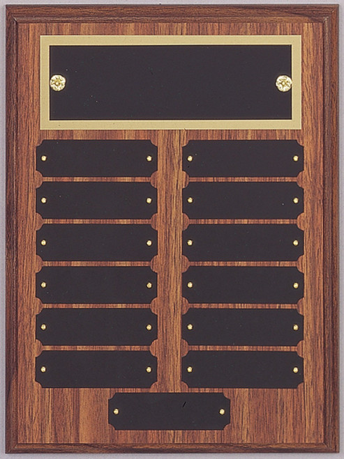 "9"" x 12"" (13 Plate) Walnut Finish Perpetual Plaque with Top Plate Border"