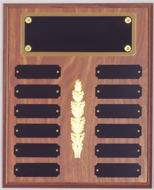 "10.5"" x 13"" (12 Plate) Walnut Finish Perpetual Plaque with Top Plate Border & Middle Decoration"
