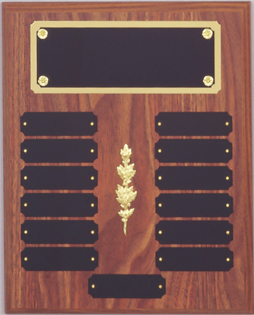 "10.5"" x 13"" (13 Plate) Walnut Finish Perpetual Plaque with Top Plate Border & Middle Decoration"