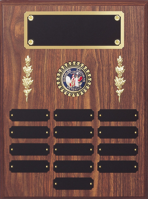 "12"" x 16"" (13 Plate) Walnut Finish Perpetual Plaque with Mylar Holder and Decorations"