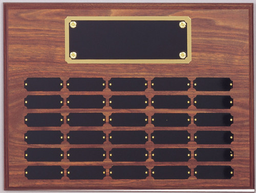 "12"" x 16"" (30 Plate) Walnut Finish Perpetual Plaque with Plate Border"