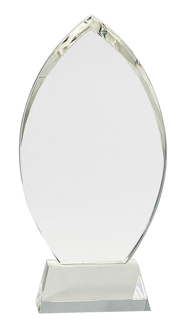 "Crystal Oval Mounted on a Crystal Pedestal with Sandblasted Engraving 10.5"" Tall"