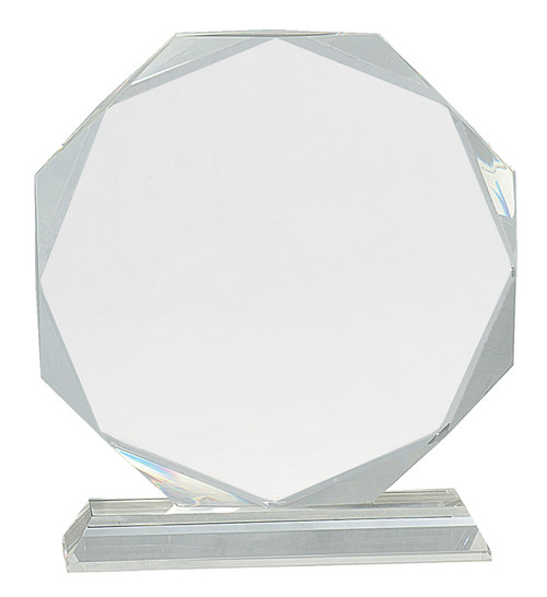 "Crystal Octagon Mounted on a Crystal Pedestal with Sandblasted Engraving 8"" Tall"
