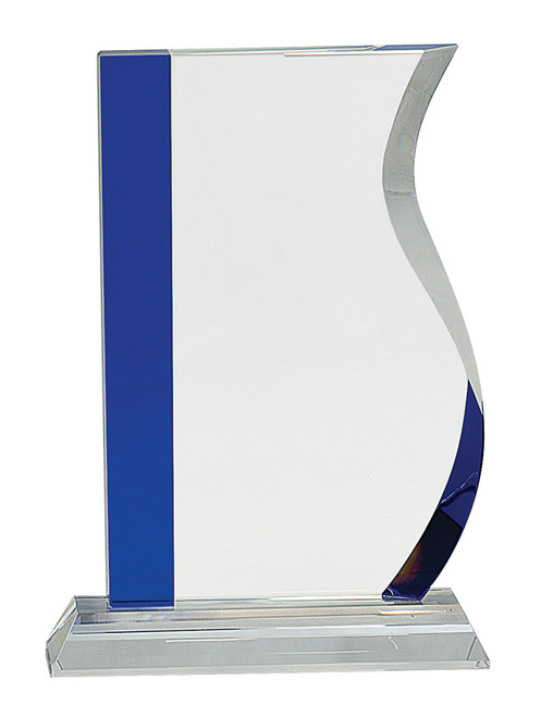 "Crystal Wave Mounted on a Crystal Base with Sandblasted Engraving & Blue Accent 8.25"" Tall"